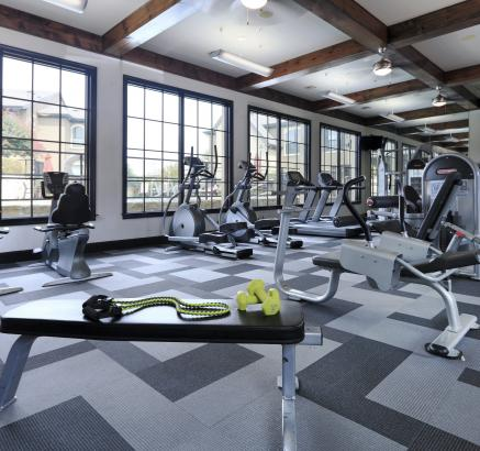 Fitness center at Camden Brushy Creek Apartments in Cedar Park, Texas