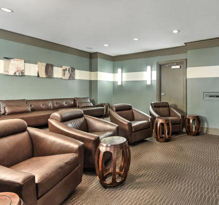 Theater Room at Camden Dulles Station Apartments in Herndon, Virginia