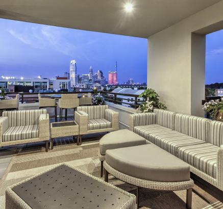 Rooftop terrace at Camden Gallery Apartments in Charlotte, North Carolina