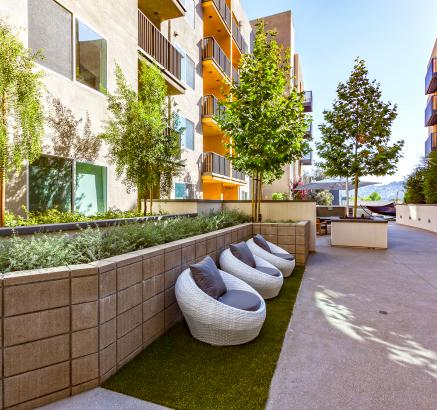 Resident outdoor space at Camden Glendale apartments in Glendale, California.
