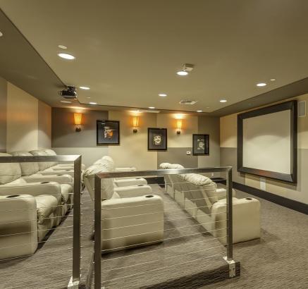 Theater room at Camden Main and Jamboree in Irvine, California.