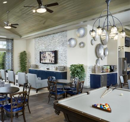 Billiards Lounge at Camden Waterford Lakes Apartments in Orlando, Florida